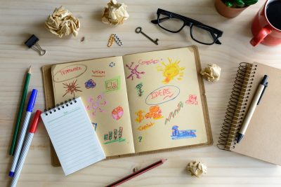 Businessman desk office marketing Planner and Strategy idea