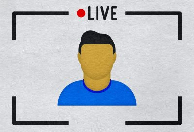 Live stream man icon on paper textured background